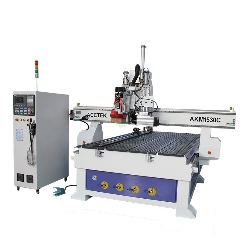 Wood plate atc cnc router with cutting saw