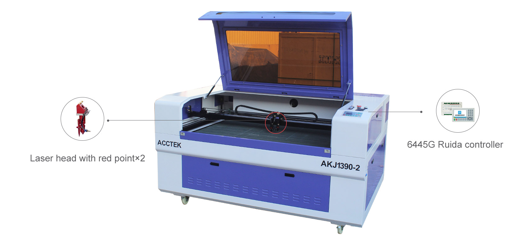 Machine de découpe et de gravure laser CO2 à deux têtes